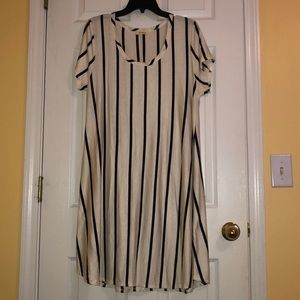 Cream and dark blue stripped dress